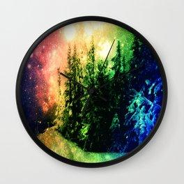Galaxy Forest Rainbow Snow Wall Clock