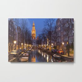 Church and a canal in Amsterdam at night Metal Print