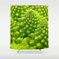 fibonacci Shower Curtains featuring Macro Romanesco Broccoli by Nicolas Raymond