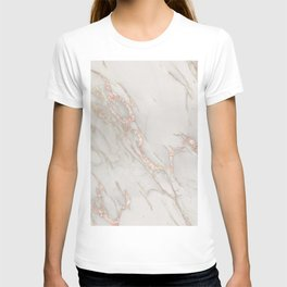 Marble Rose Gold Blush Pink Metallic by Nature Magick T-shirt