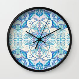 Teal Blue, Pearl & Pink Floral Pattern Wall Clock