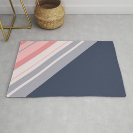 Blue and pink diagonal stripes Rug