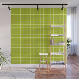 Acid Green - Green Color - White Lines Grid Pattern Wall Mural