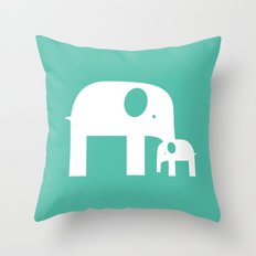 Blue Elephants Throw Pillow