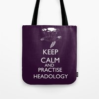 discworld Tote Bags featuring discworld - keep calm and practise headology by Rebecca McGoran