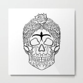 Frida Kahlo Sugar Skull black and white Metal Print