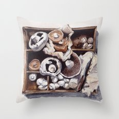 Mushroom box Throw Pillow