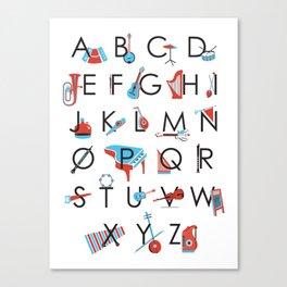 Musical Instrument Alphabet Poster Canvas Print
