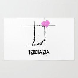 Love Indiana State Sketch  USA Black Art  Design Rug