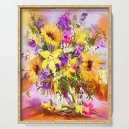 Yellow bouquet Serving Tray