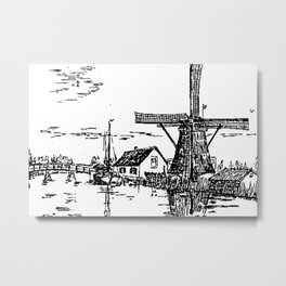 Dutch scene with windmill and house near a canal and freight boat Metal Print