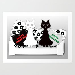 Black and White Cats on Sofa Christmas Art Print