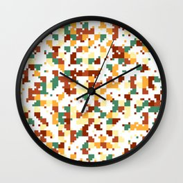 Waiting for Fall - Random Pixel Pattern in Green, Orange and Yellow Wall Clock