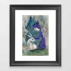Witch and Hare Framed Art Print