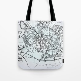 Mansfield, England, White, City, Map Tote Bag