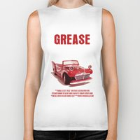 grease Biker Tanks featuring Grease Movie Poster by FunnyFaceArt