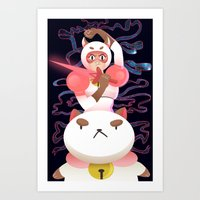 puppycat Art Prints featuring Bee and Puppycat by Terry Blas