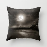 the moon Throw Pillows featuring Moon by Viviana Gonzalez