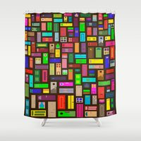 doors Shower Curtains featuring Doors - Black by Finlay McNevin