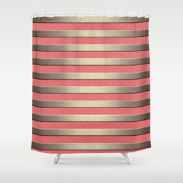 Striped Golden coral Shower Curtain