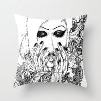 goth Throw Pillows featuring goth love by Jess John