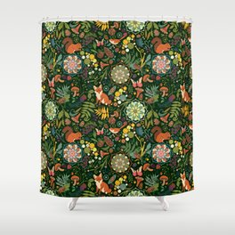 Treasures of the emerald woods Shower Curtain