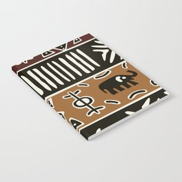 African mud cloth with elephants Notebook