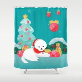 Christmas bichon frise 2 Shower Curtain