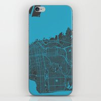 san francisco iPhone & iPod Skins featuring San Francisco by Map Map Maps
