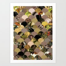 Autumn Scalloped Pattern Art Print