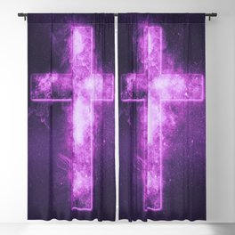 Christian cross symbol. Abstract night sky background. Blackout Curtain