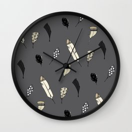 Grey Feathers Illustration Wall Clock