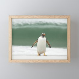 Gentoo penguin on a stormy beach Framed Mini Art Print
