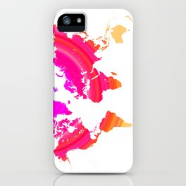 Pink world map iPhone Case