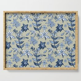 Monochrome Tan and Blue Alpine Flora Serving Tray