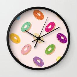 Donuts Pattern | Pastel Pink Wall Clock