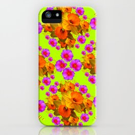 Chartreuse Color Golden Daffodil Rose Art iPhone Case