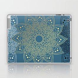 GOLDEN MANDALA ON BLUE Laptop & iPad Skin