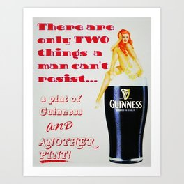 There are only two things men cannot resist Vintage Guinness Beer Advertisement Poster Art Print