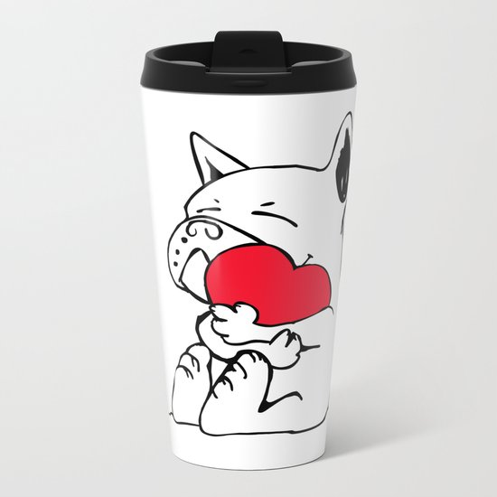 Frenchie Heart Metal Travel Mug