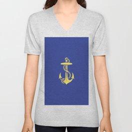 Modern royal blue sunshine yellow nautical anchor Unisex V-Neck