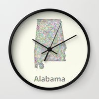 alabama Wall Clocks featuring Alabama map by David Zydd
