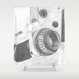Pentax Illustrated Shower Curtain