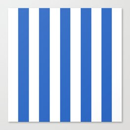 True Blue - solid color - white vertical lines pattern Canvas Print