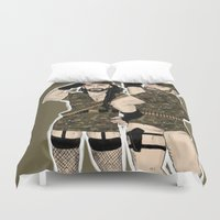 soldier Duvet Covers featuring hello soldier by ladynorthstar