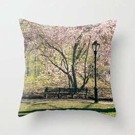 Magnolia's Bloom in Central Park Throw Pillow