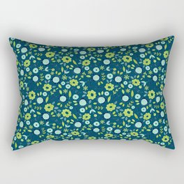 Apple green & Dark blue flowers Rectangular Pillow