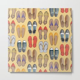 Hard choice // shoes on yellow background Metal Print