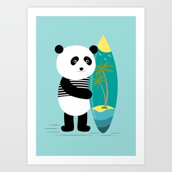 Surf along with the panda. Art Print