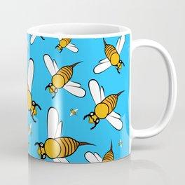 Bees pattern in blue Coffee Mug
